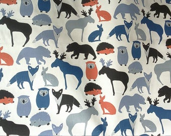 Tablecloth white blue orange wild animals Kids decor Modern Scandinavian Design , napkins , runner , curtains , pillow covers , great GIFT