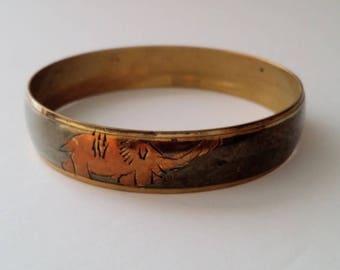 Vintage Brass Elephant Bangle Bracelet