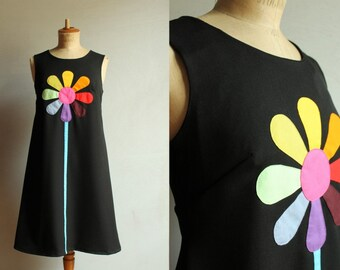 Black daisy pinafore dress for women