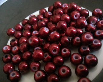 set of 50 6 mm Burgundy glass pearls
