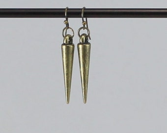 Gold spike earrings, gold dangle earring, spike earrings.