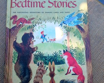Thornton W. Burgess Vintage children's hardcover book, Bedtime Stories, includes the Pony Engine on the reverse side, color illustrations