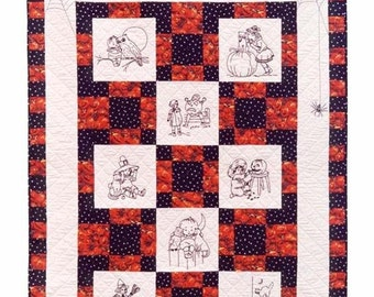 Halloween Pattern Hand Embroidery Quilt Pattern 42 x 52 Sewing Fall Quilting Blackwork Redwork