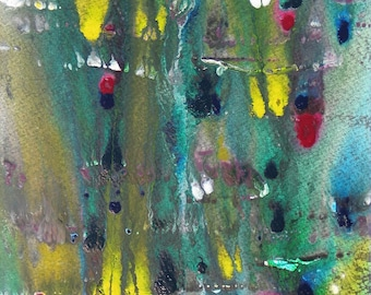 Modern Abstract Painting Acrylic Original Painting Textured Colorful Wall Decor Green Blue Yellow