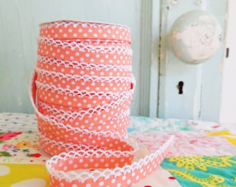 Coral Polka Dot Crochet Edge Bias Tape (No. 1) for Children's Clothing.  Double Fold Bias.  Sewing Supplies.