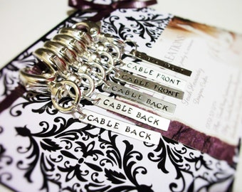 Personalized Removable Knit Stitch Markers. Gift Set of Six. Silver Tone. Choice of 3 clasp sizes/styles