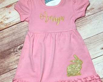 Easter Dress, Girls Easter Outfit, Baby Girl Easter Dress, Easter Outfit, Bunny Dress, Kids Easter Outfit, Personalized Easter Dress Girls