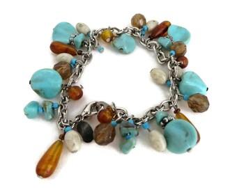 Turquoise Bracelet, Vintage Bracelet, Amber Bracelet, Worthington Bracelet, Green Bead Bracelet, Chain Link Bracelet, Boho Jewelry