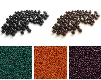 100 Perles de bois rondes 3mm - Marron, Noire, Émeraude, Orange ou Violet