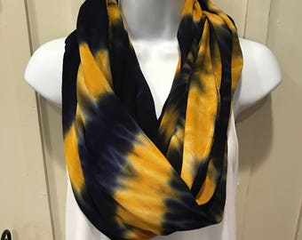 University of Pittsburgh themed scarf, Hand dyed scarf, Tie dyed infinity scarf, Rayon infinity scarf