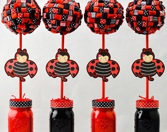 Ladybug Party Ribbon Topiary Centerpieces - Bumblebee Birthday or Shower - Set of 4 - Black and Red Ribbon Topiary Centerpieces