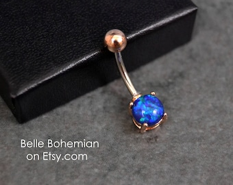 Belly Button Ring Opal Rose Gold Blue Opal Opal Belly Ring Opal Belly Jewelry 14G - Surgical Steel - Opal Navel Ring