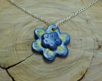 Handcrafted Ceramic Necklace   Hand Painted Flower Pendant with Silver Chain