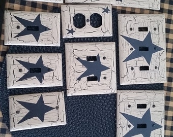 lot of primitive country black star light switch plate lot of 5 you pick covers