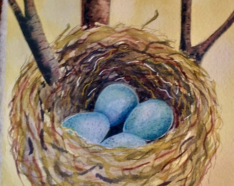Nest with eggs ORIGINAL watercolor painting.  Easter, Mother's Day, Birthday, bird, for her, for him, Spring, robin, wall art, nursery