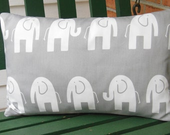 Gray Elephants Lumbar Pillow Decorative Throw Pillow Cushion COVER Nursery Childrens, Bed Pillow ALL SIZES Couch Pillow Gray White Elephants