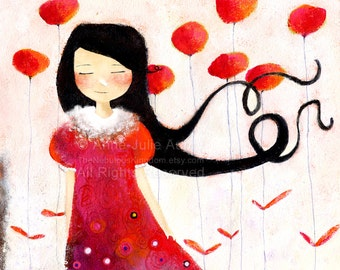 Girl at Poppies - Deluxe Edition Print - Whimsical Art