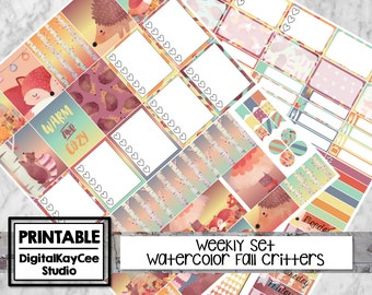 PRINTABLE Watercolor Fall Critters / Weekly Set / Erin Condren Life Planner / Vertical / Planner Stickers / MAMBI