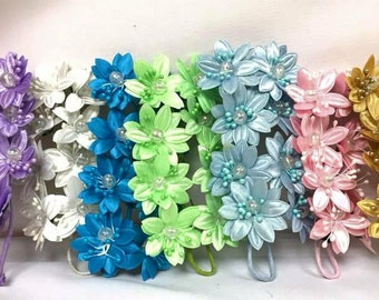 Satin Flowers with Clear Pearls on Stem Craft Party Supplies Corsage Flower Stem All Decorative Needs