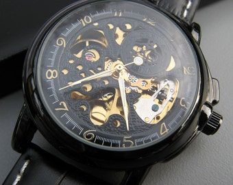 Luxury Black Mechanical Wrist Watch, Leather Wristband, Automatic Men's Watch, Black & Gold Watch, 1-3 line Engraving Option - Item MWA56