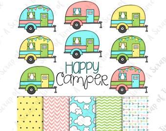 Happy Camper Hand Drawn Digital Clipart & Paper - Set of 14 - Campers, Title, Digital Paper - Instant Download - Item #9159