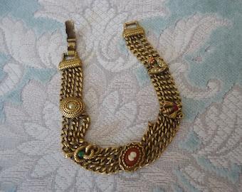 "Vintage Antique Gold Tone Multi-Chain Bracelet w/ Whimsical Accents, 7 1/4"""