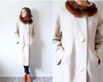 15% OFF MEMORIAL DAY sale Vintage 1960's fur collar overcoat // tan cream beige overcoat // fur coat // brown mink fur neck collar // Small