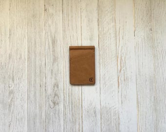 Leather Money Clip RFID Blocking Bi-Fold Wallet Made from Full Grain Leather, with Cash Clip - The Griffin (Tan)