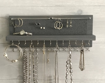 Jewelry Organizer Holder Gray - Necklace Organizer Holder - Wall Mounted Rustic Wood, Necklaces Bracelets, Earrings