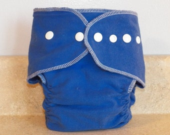 Fitted Large Cloth Diaper- 20 to 30 pounds-  Blue and White- 19009