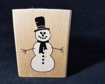 Snowman Used Rubber Stamp View all Photos Canadian Maple Collections