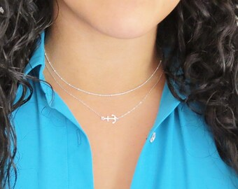 Sideways Anchor Necklace, Silver Anchor Necklace, Offset Anchor, Delicate Necklace, Minimalist Jewelry, Dainty Choker, Sterling Silver