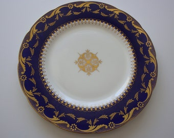 Antique MINTONS AS-H4900 Gold on Cobalt Large Plate