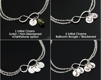 INFINITY Initial Bracelet, Personalized Infinity Bracelet, Mom's Infinity Bracelet, 1 - 9 Initial Charms, STERLING SILVER.