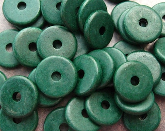 10 Mykonos Greek Ceramic Dark Forest Green 13mm Round Disk Beads