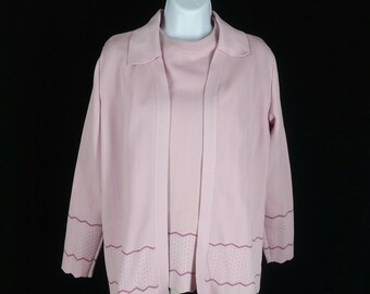 Vintage 70s pink Easter 3 piece pant suit outfit by Donovan Giovani size small chest 38