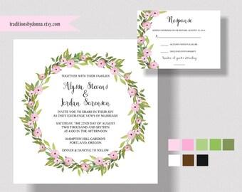 GARDEN WEDDING INVITATION Suite, Boho, Bohemian, Watercolor Wreath, Rustic, Shabby Chic Wedding, Pink Floral Invitation. Woodland Wedding