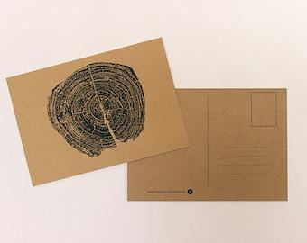 Cardboard postcard ' tree trunk '.