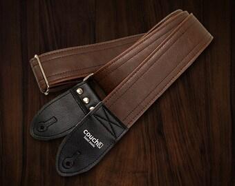 Classic Brown Rustic Saddle Vegan Leather Guitar Strap