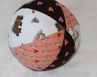 Small White Woodland Animals Fabric Ball Rattle