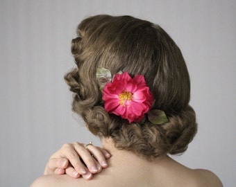 """Fuchsia Flower Fascinator, Pink Floral Clip, Camellia Hair Accessory, Rose Hairpiece, Vintage Hair Piece 1950s - """"Lipstick Lullaby"""""""