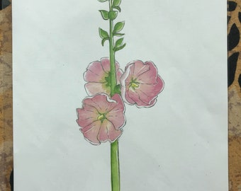 Hollyhock Watercolor Print