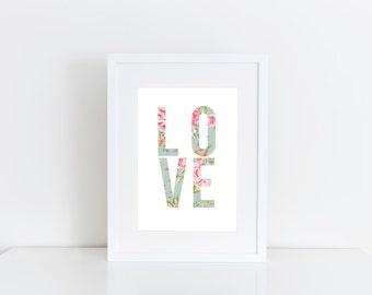 Love Art Floral Digital Art - DIGITAL INSTANT DOWNLOAD