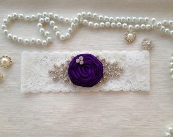 wedding garter, bridal garter, lace garter, purple rolled rosette, rhinestone