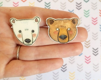 Best Friend Bear Brooches. BFF bear  Pin - polar bear pin - Grizzly Pin - cat jewellery-Unique Boutonnière