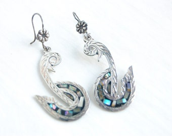 Swan Earrings Mexican Sterling Silver and Abalone Swans Vintage Artisan Jewelry Long Statement Dangles