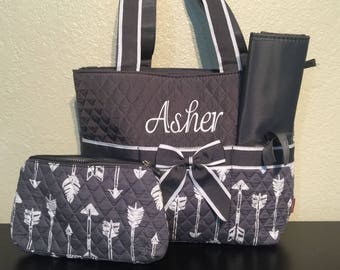 Arrow Print Monogrammed Diaper Bag Gray and White with Gray Trim