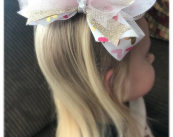Oversized gold/pink/ hearts hair bow