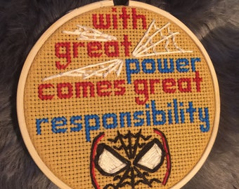 With Great Power - Spiderman Cross Stitch