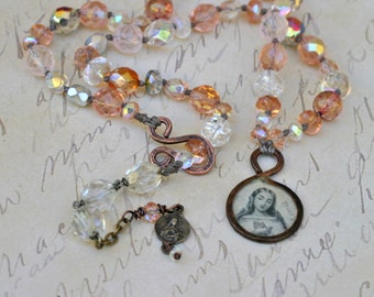OUR LADY of FAITH * Catholic Jewelry * Catholic Necklace * Catholic Gift * Confirmation Gift * Virgin Mary * Saint Therese * Hand Knotted
